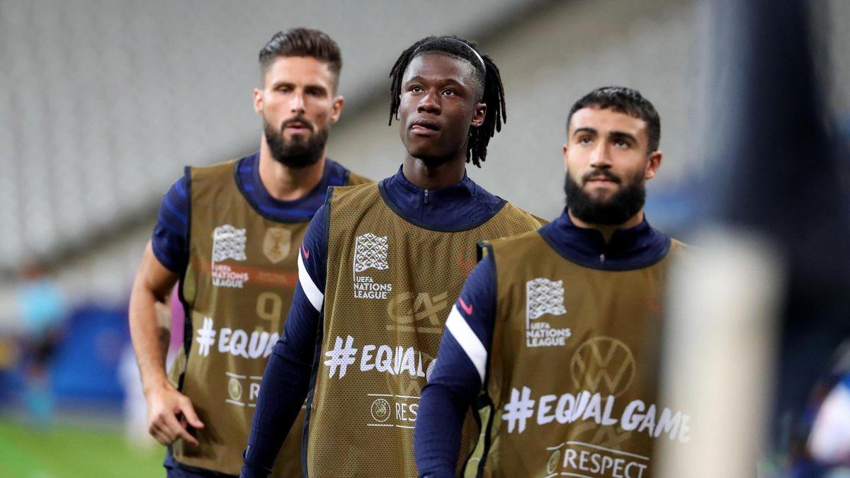 Eduardo Camavinga (C) of France looks on during the UEFA Nations League group stage match between France and Croatia