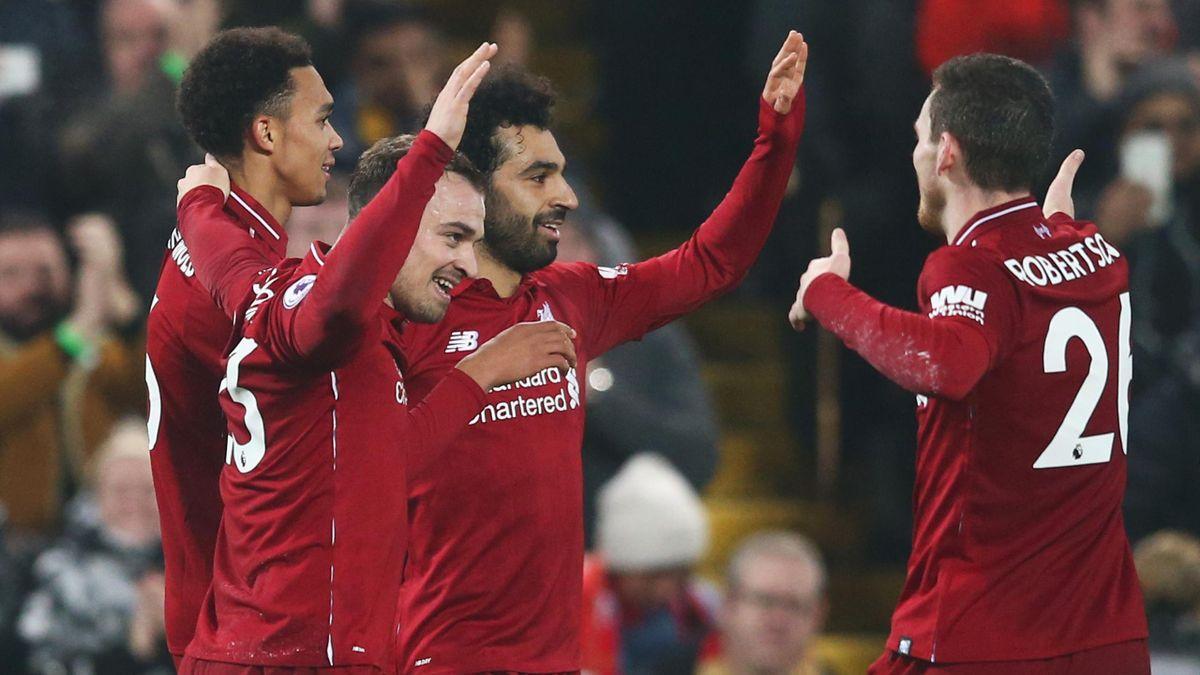 Liverpool celebrate scoring against Newcastle