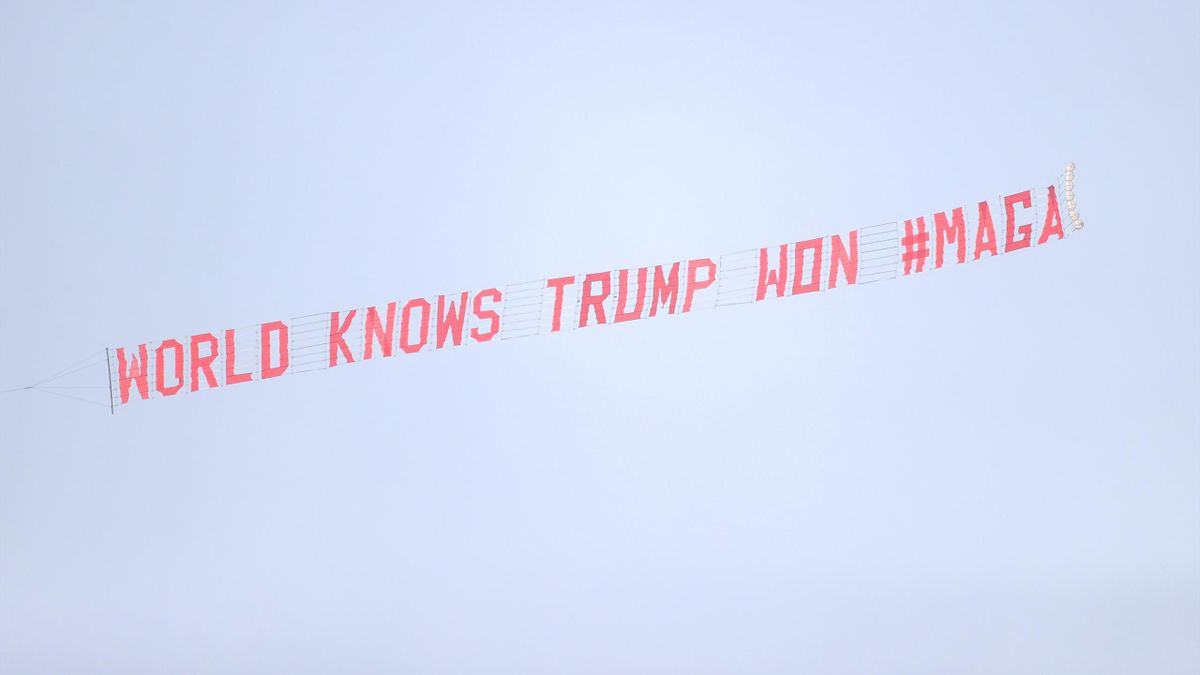 A Donald Trump banner was flown over Goodison Park