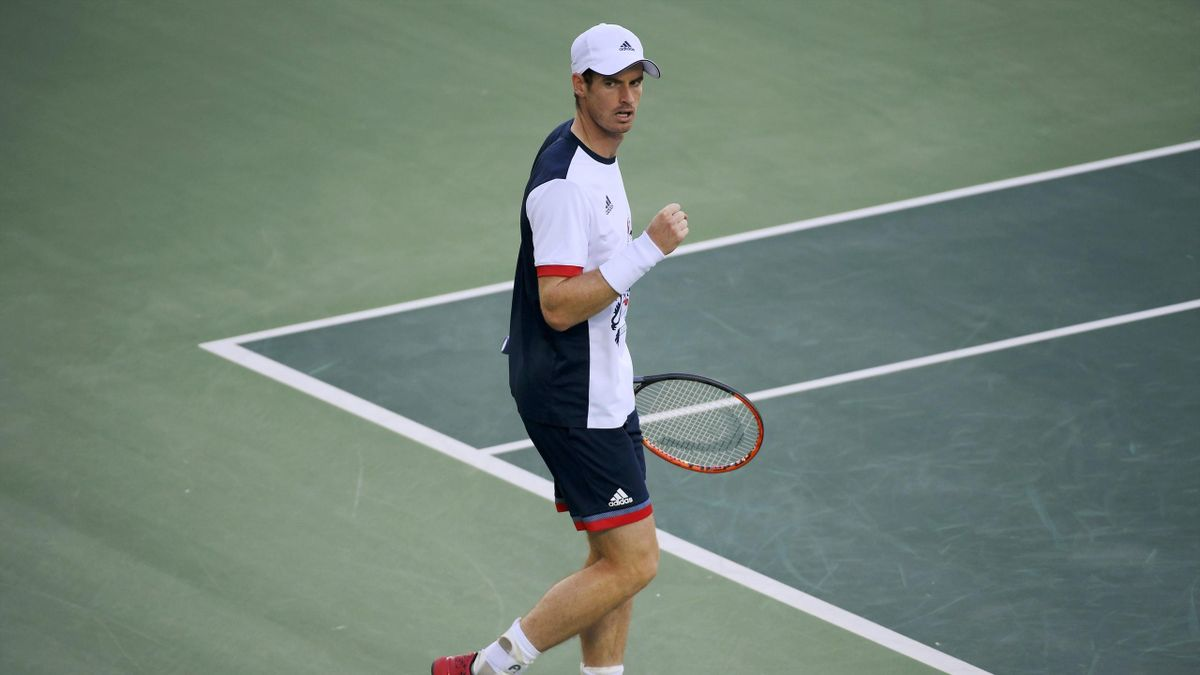Andy Murray (GBR) of United Kingdom celebrates after winning his match against Fabio Fognini (ITA) of Italy