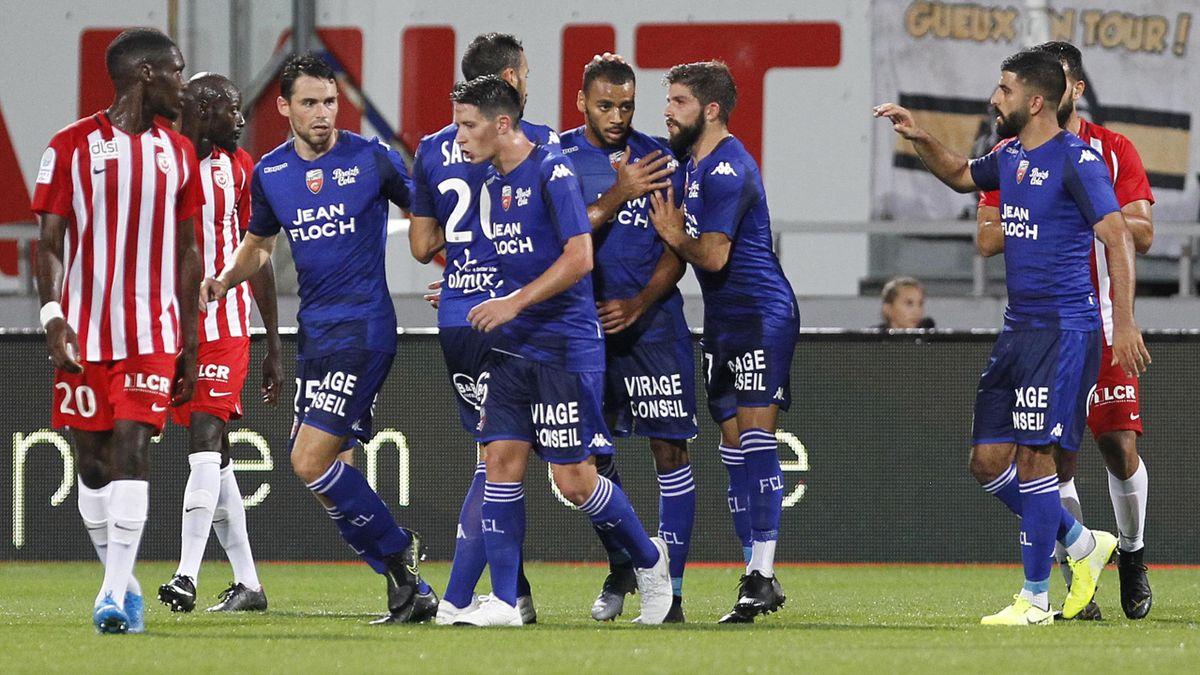 Alexis Claude Maurice célèbre son but lors de Nancy-Lorient / Ligue 2