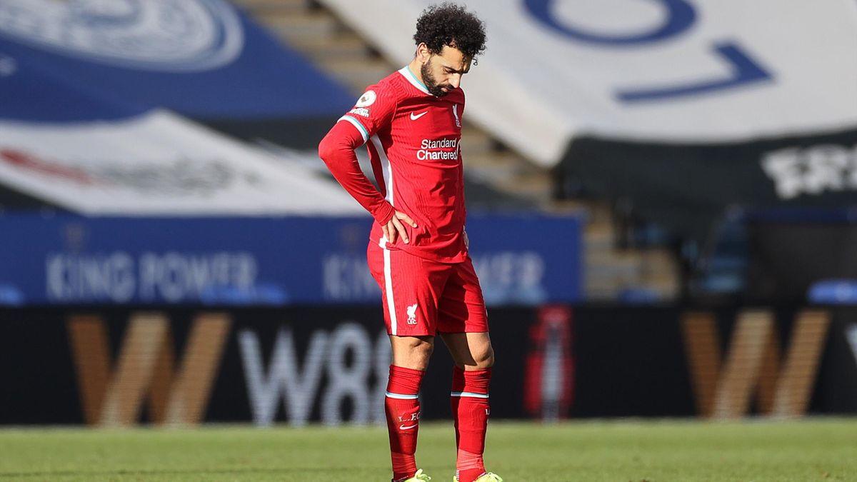 Mohamed Salah tête basse lors du match opposant Leicester City à Liverpool, le 13 février 2021