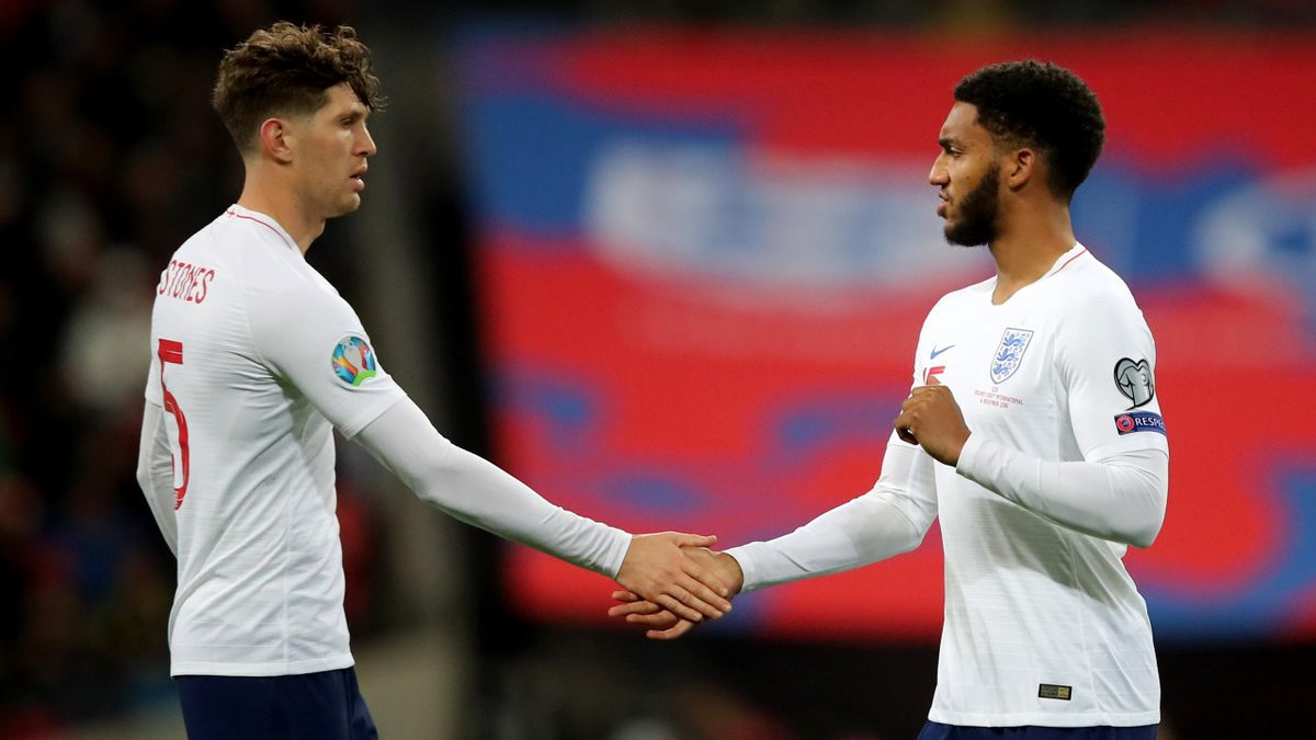 Joe Gomez and John Stones of England during the UEFA Euro 2020 qualifier between England and Montenegro at Wembley Stadium