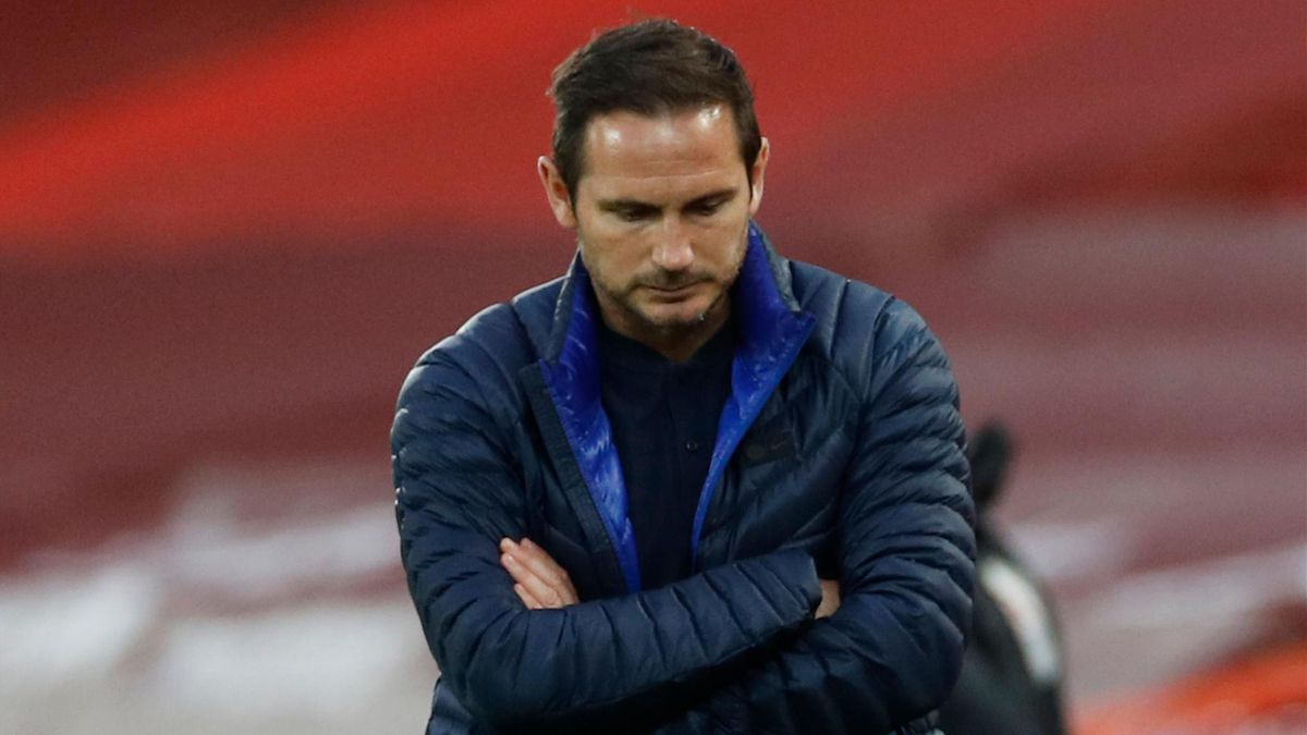 Chelsea's English head coach Frank Lampard reacts on the touchline during the English Premier League football match between Liverpool and Chelsea at Anfield in Liverpool, north west England on July 22, 2020