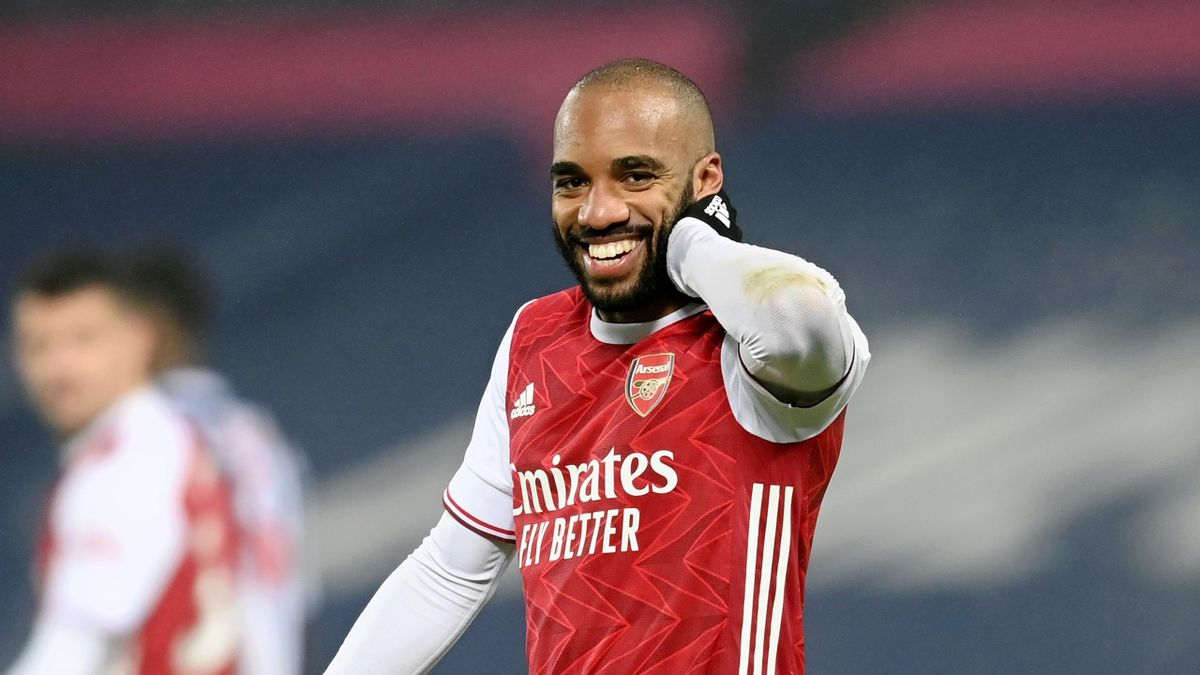 Alexandre Lacazette of Arsenal celebrates after scoring their team's fourth goal during the Premier League match between West Bromwich Albion and Arsenal at The Hawthorns on January 02, 2021 in West Bromwich, England.