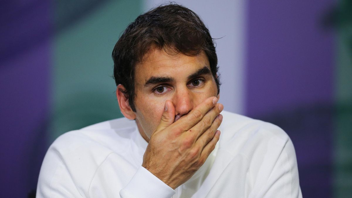 Switzerland's Roger Federer during a press conference after losing his semi final match to Canada's Milos Raonic