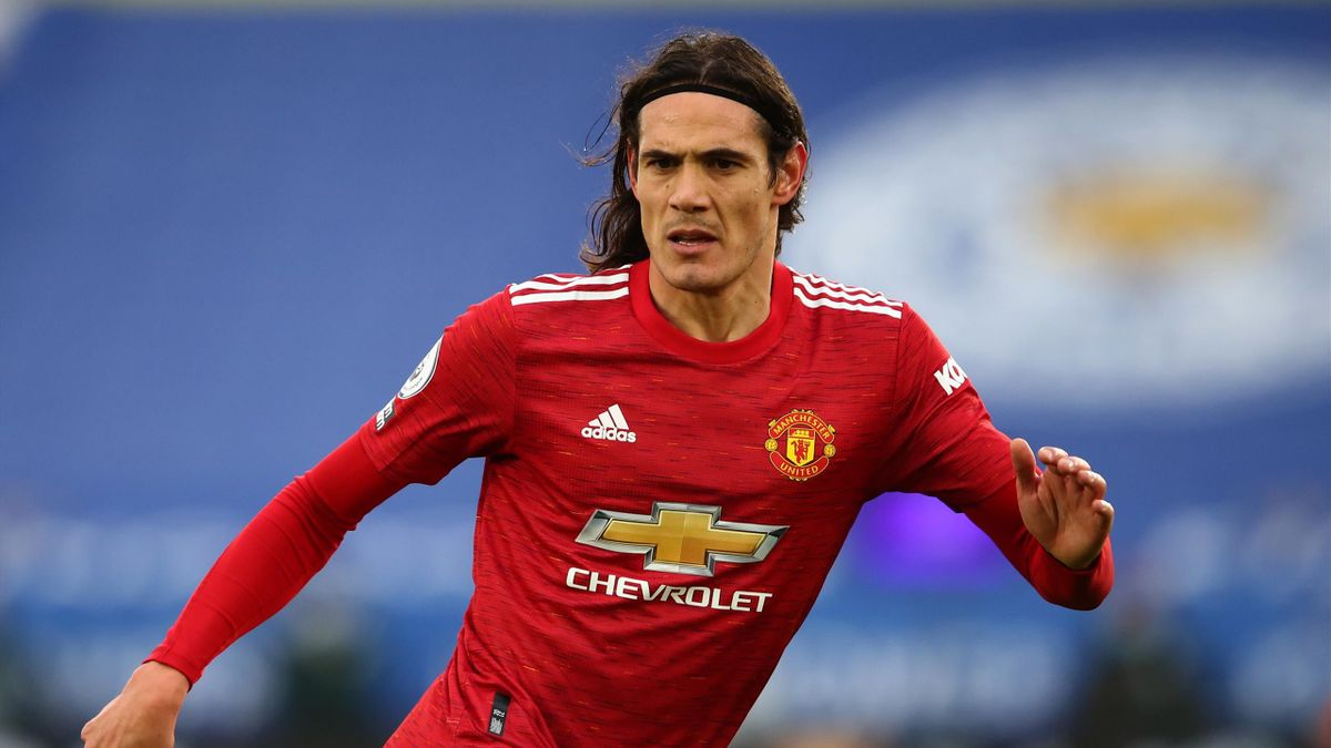 Edinson Cavani of Manchester United during the Premier League match between Leicester City and Manchester United at The King Power Stadium