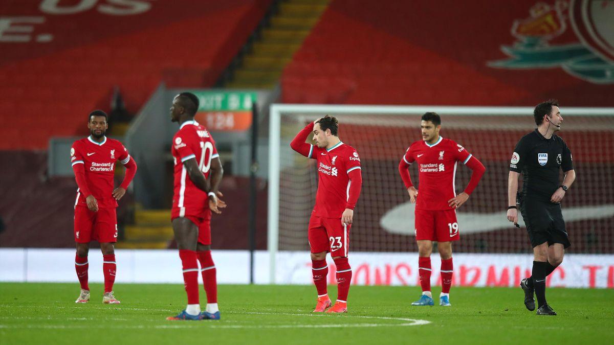 Les joueurs de Liverpool lors de leur défaite face à Everton (0-2)