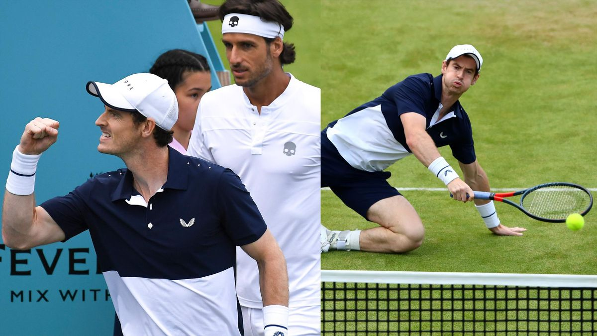 Andy Murray returned to action at Queen's with Feliciano Lopez