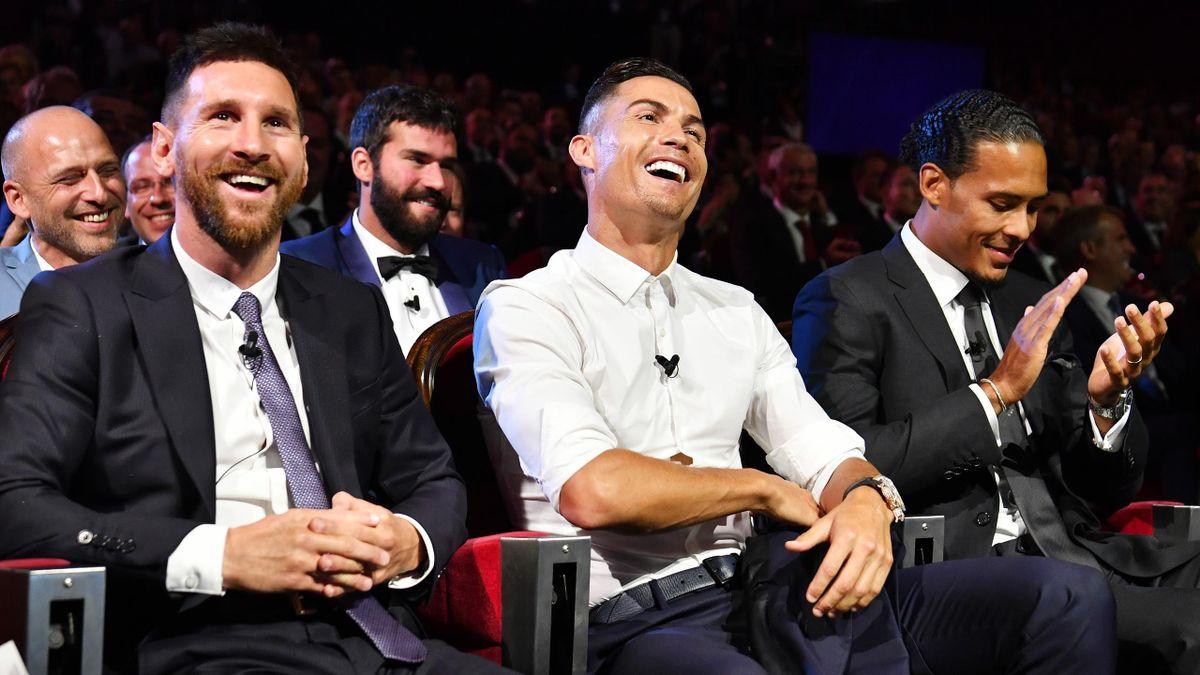 Lionel Messi (l.), Cristiano Ronaldo und Virgil van Dijk (r.)