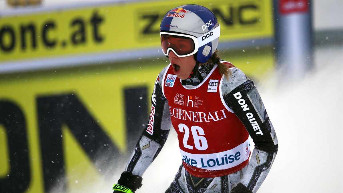 Ester Ledecka of Czech Republic takes 1st place during the Audi FIS Alpine Ski World Cup Women's Downhill on December 6, 2019 in Lake Louise Canada