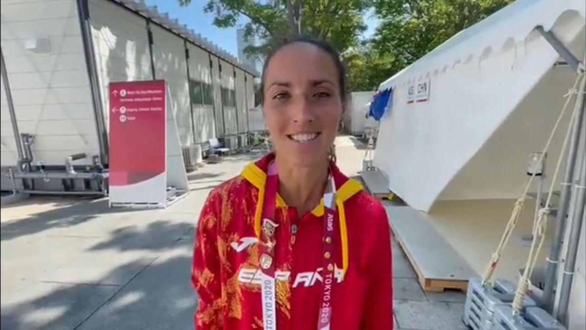 Laura Méndez (España, atletismo). Juegos Olímpicos de Tokio 2020. Captura: Twitter @atletismoRFEA