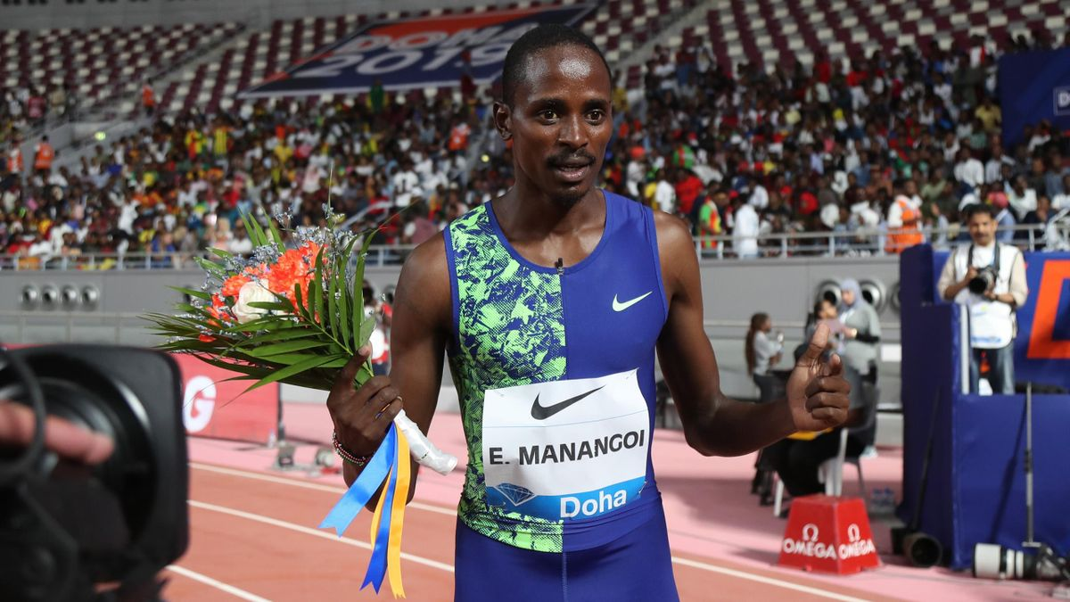 Kenya's Elijah Motonei Manangoi celebrates after winning the men's 1500m during the IAAF Diamond League competition on May 3, 2019 in Doha