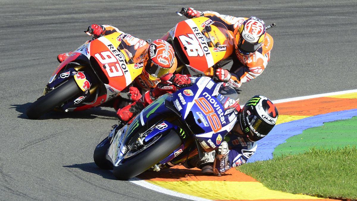 Jorge Lorenzo, Marc Márquez y Dani Pedrosa, GP Valencia