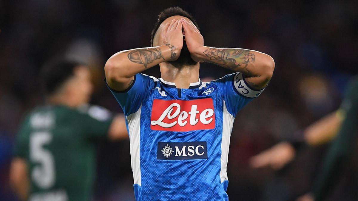La delusione di Lorenzo Insigne, Napoli-Bologna, Getty Images