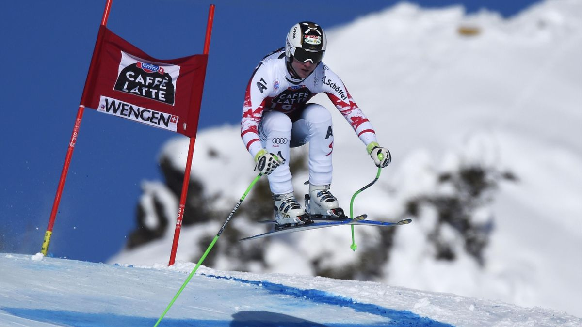 Hannes Reichelt winner of World Cup Downhill in Wengen on January 18, 2015