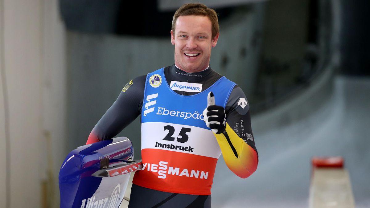 Felix Loch celebrates winning in Innsbruck