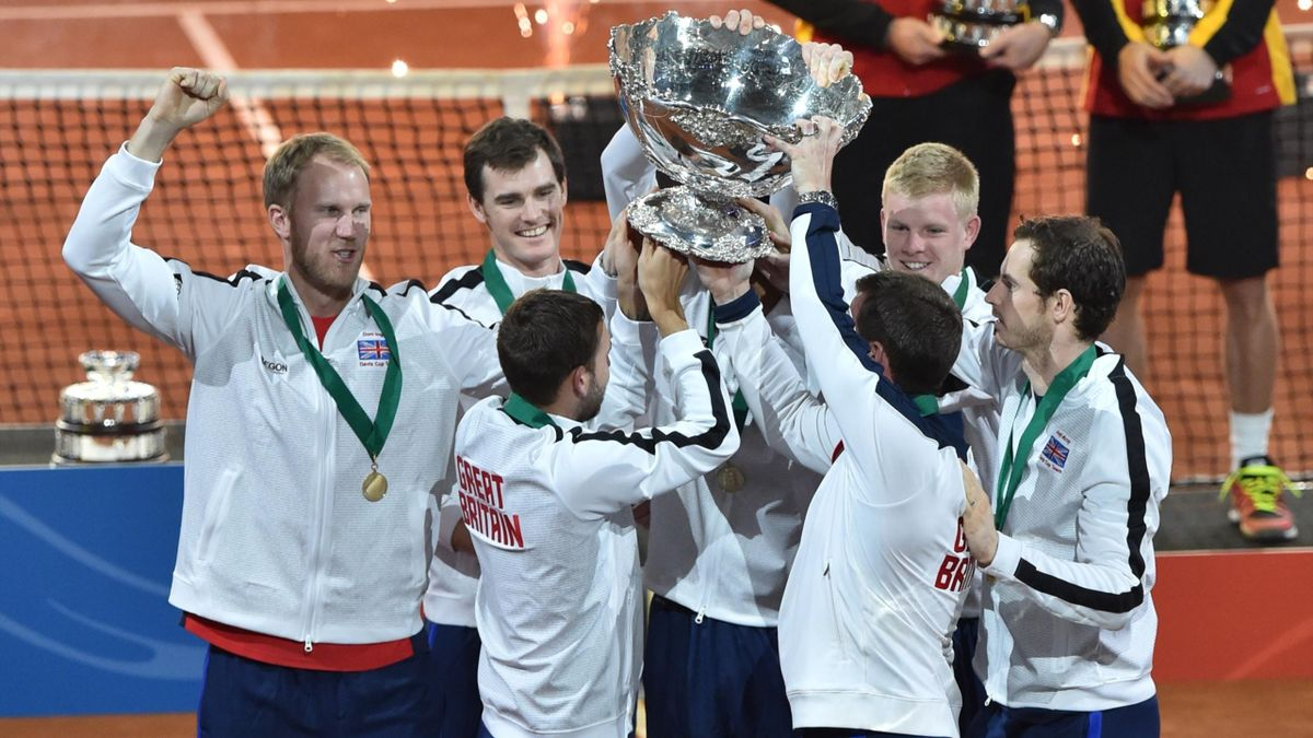 The British team celebrates with their trophy, as Belgium's David Goffin