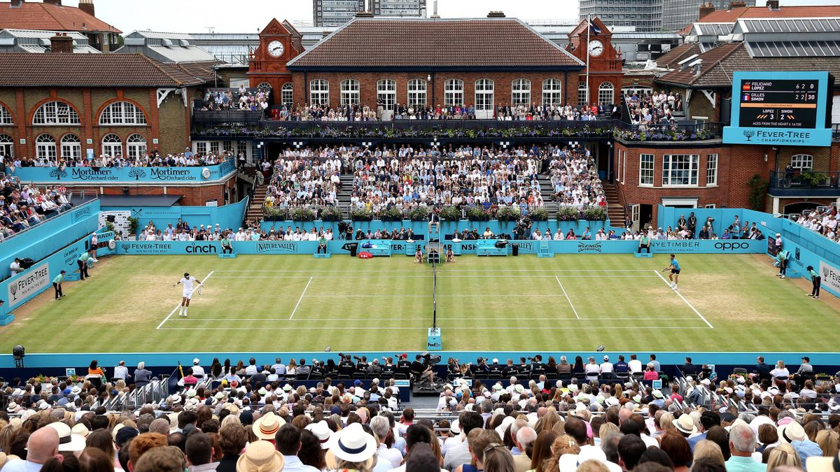A general view during the mens singles final between Feliciano Lopez of Spain and Gilles Simon of France during day seven of the Fever-Tree Championships at Queens Club on June 23, 2019 in London, United Kingdom