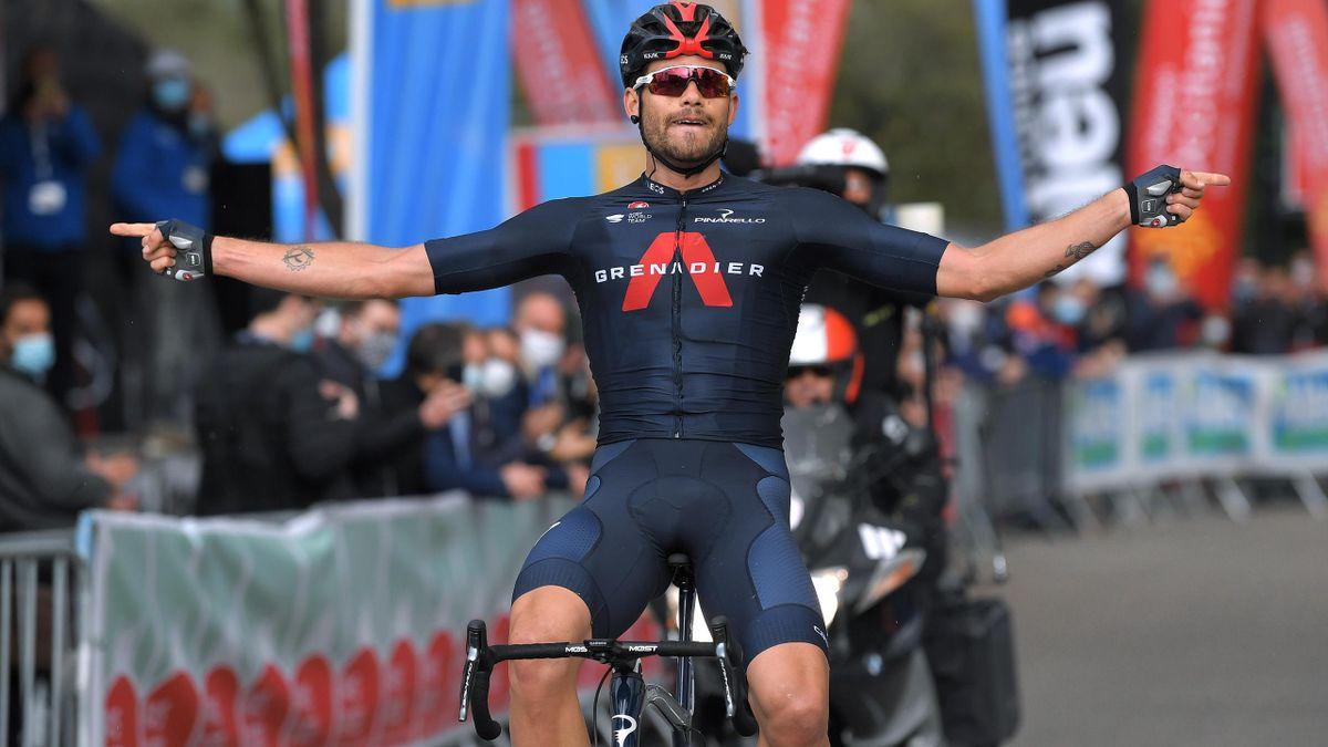 Filippo Ganna of Italy and Team INEOS Grenadiers celebrates during the 51st Étoile de Bessèges - Tour du Gard 2021