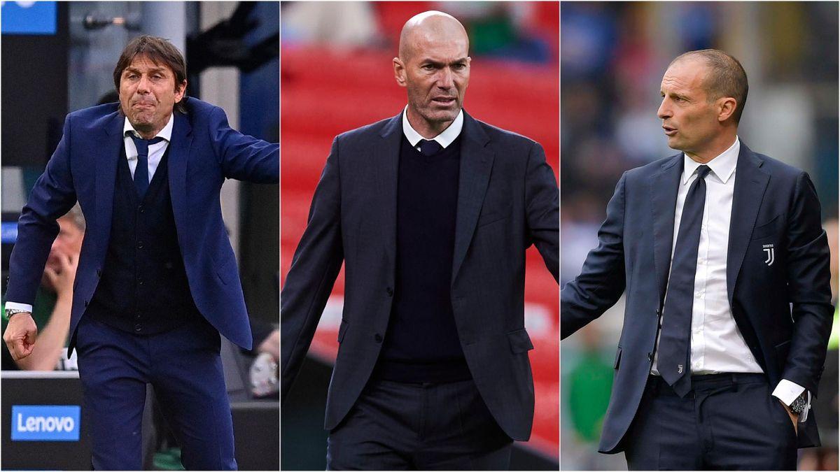 Antonio Conte, Zinédine Zidane et Massimiliano Allegri, trois entraîneurs qui mettent le feu au mercato d'été