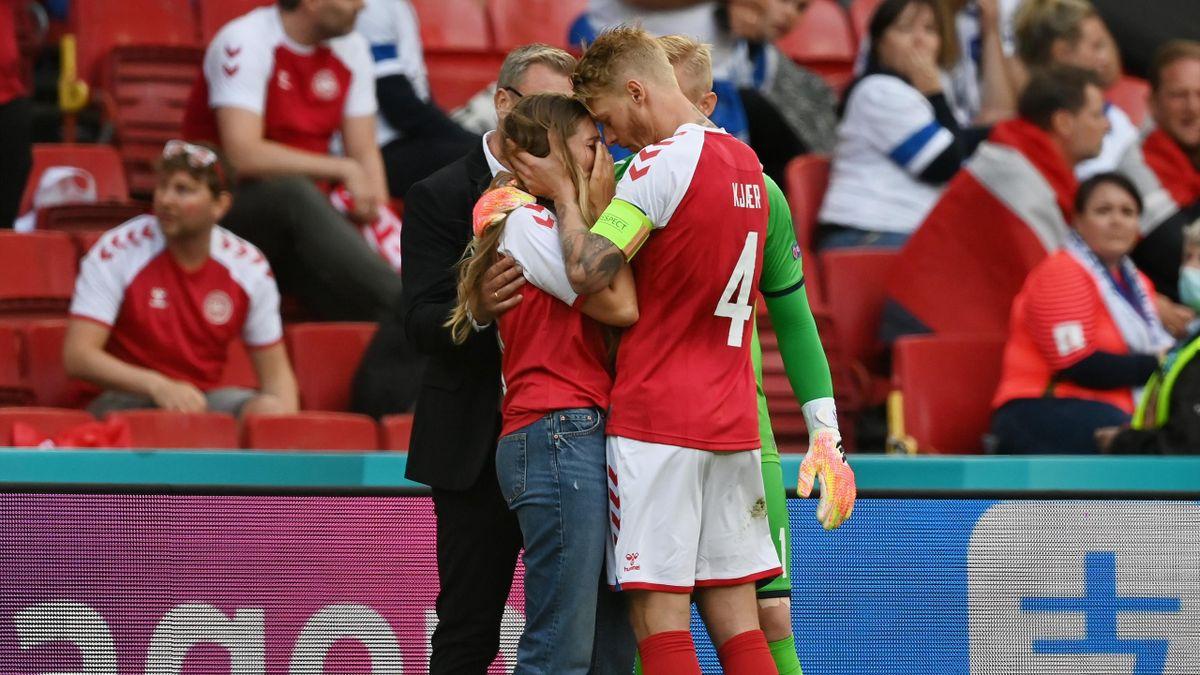Simon Kjaer consola la moglie di Eriksen