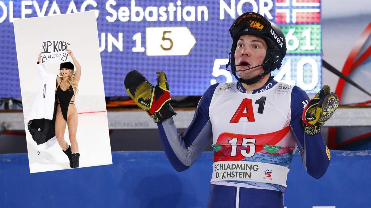 Alex Vinatzer und die Flitzerin beim Slalom in Schladming