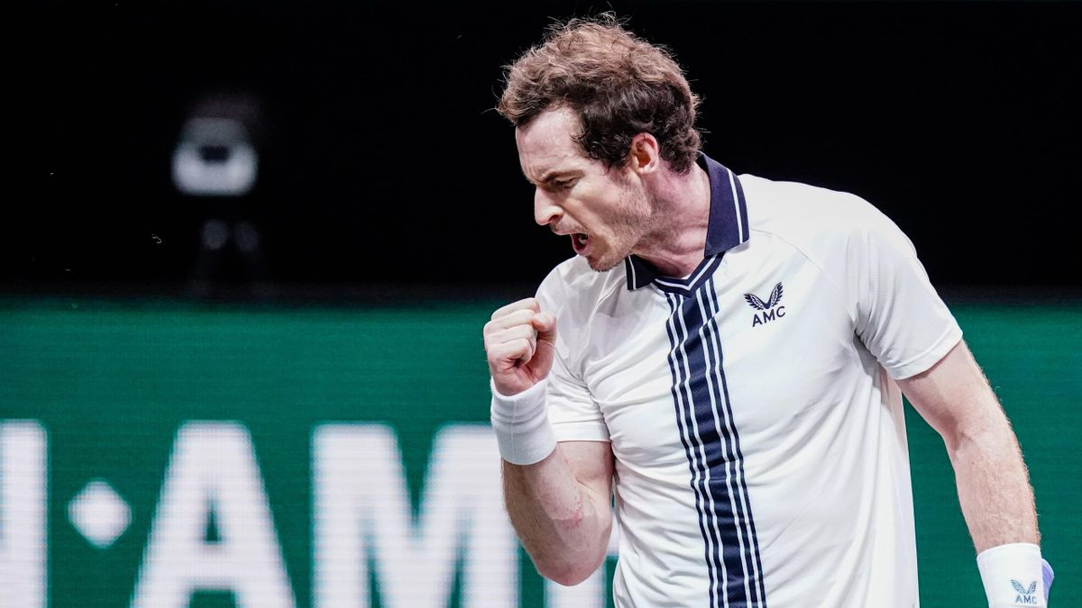Andy Murray of Great Britain celebrating during his match playing against Robin Haase of the Netherlands during the 48e ABN AMRO World Tennis Tournament at Rotterdam Ahoy