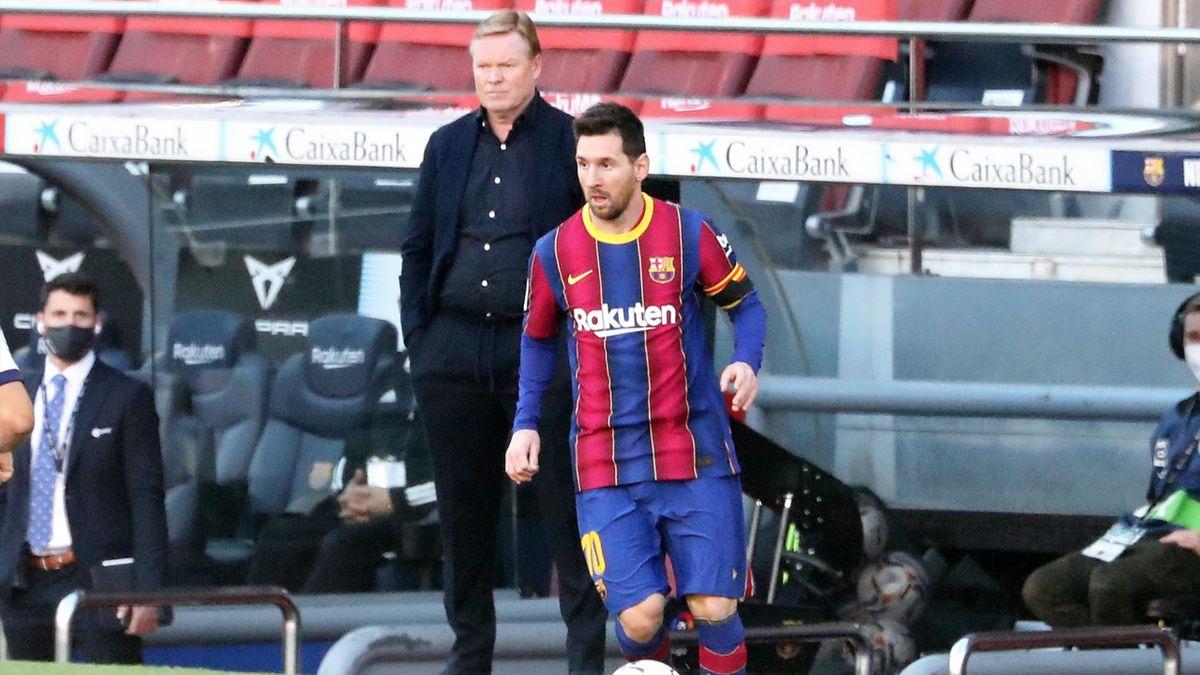 Barça-Superstar Lionel Messi (vorne) und Trainer Ronald Koeman