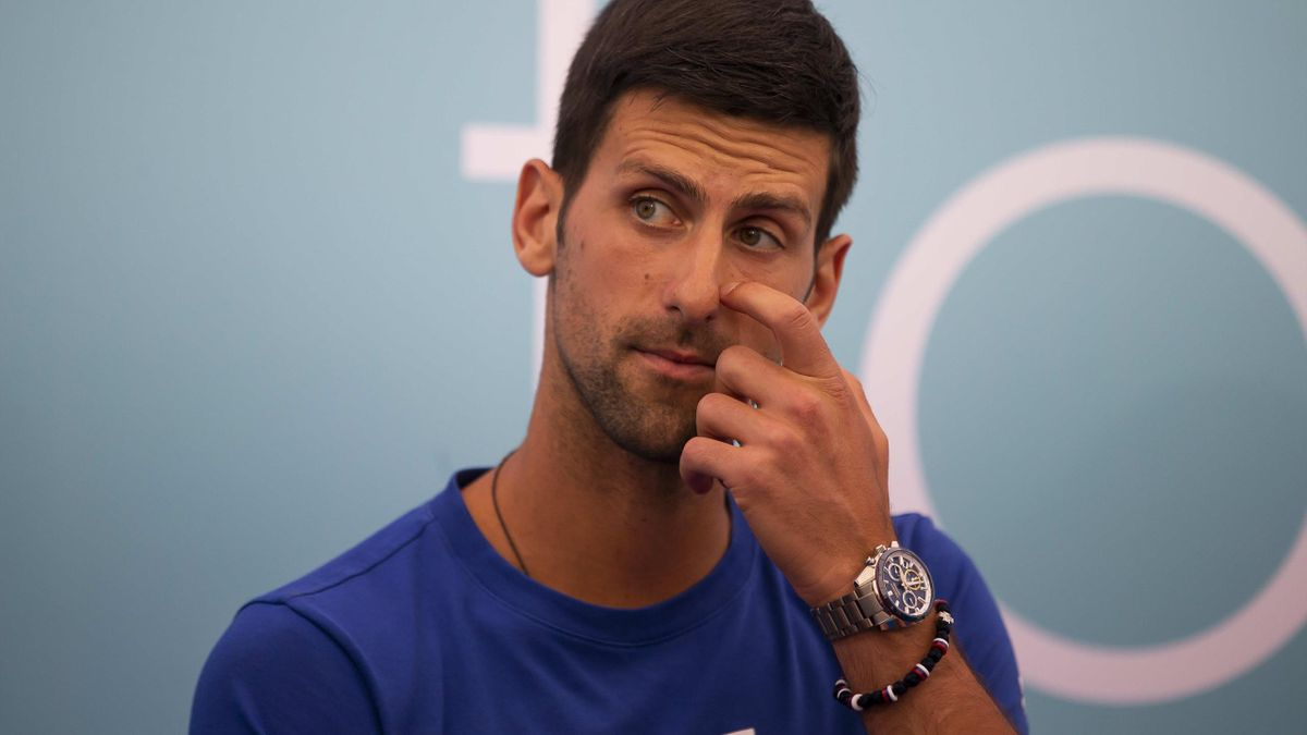 Novak Djokovic attends a press conference for the Adria Tour