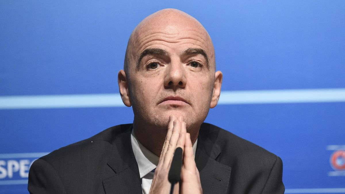 UEFA General Secretary Gianni Infantino gestures during a press conference closing an UEFA Executive meeting at the European football body's headquarters on January 22, 2016 in Nyon.