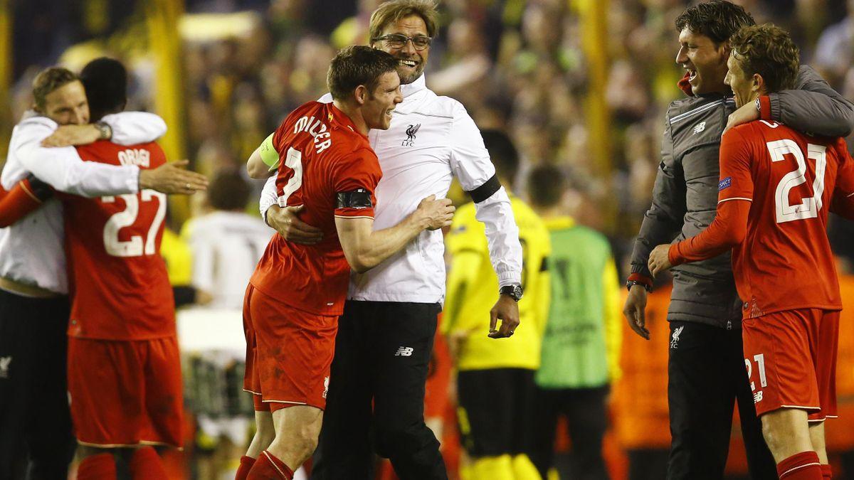 Liverpool v Borussia Dortmund, Europa League 2016: Jurgen Klopp celebrates with his players