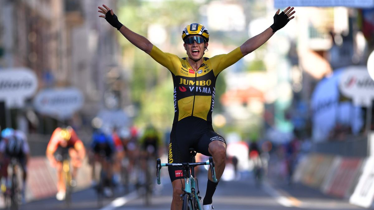 Wout Van Aert of Belgium and Team Team Jumbo - Visma / Celebration / during the 111st Milano - Sanremo 2020 a 305km race from Milano to Sanremo