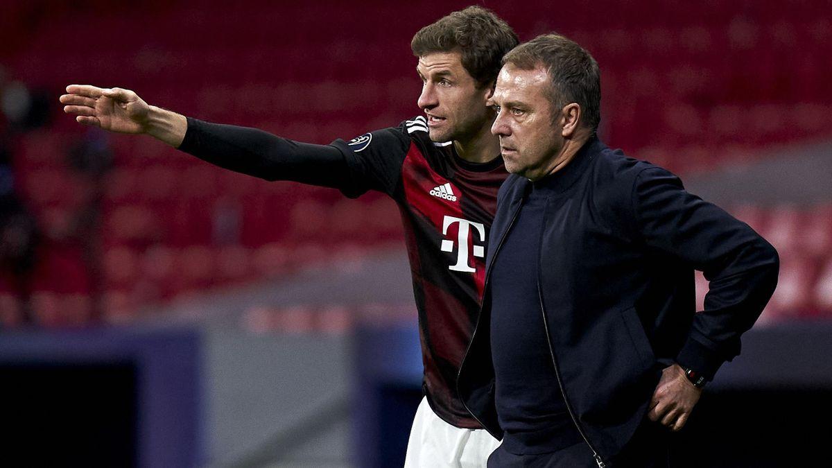 FC Bayern München - Thomas Müller und Hansi Flick