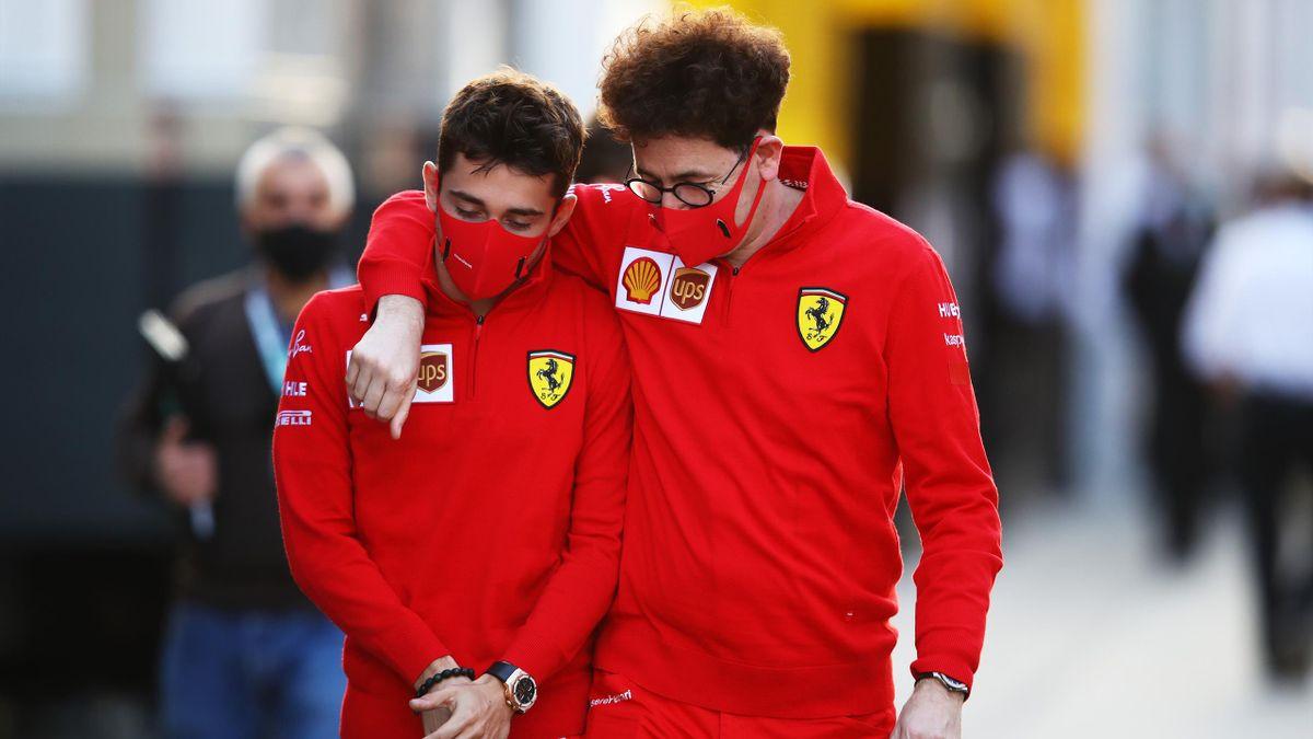 Mattia Binotto insieme a Charles Leclerc, Ferrari, Getty Images