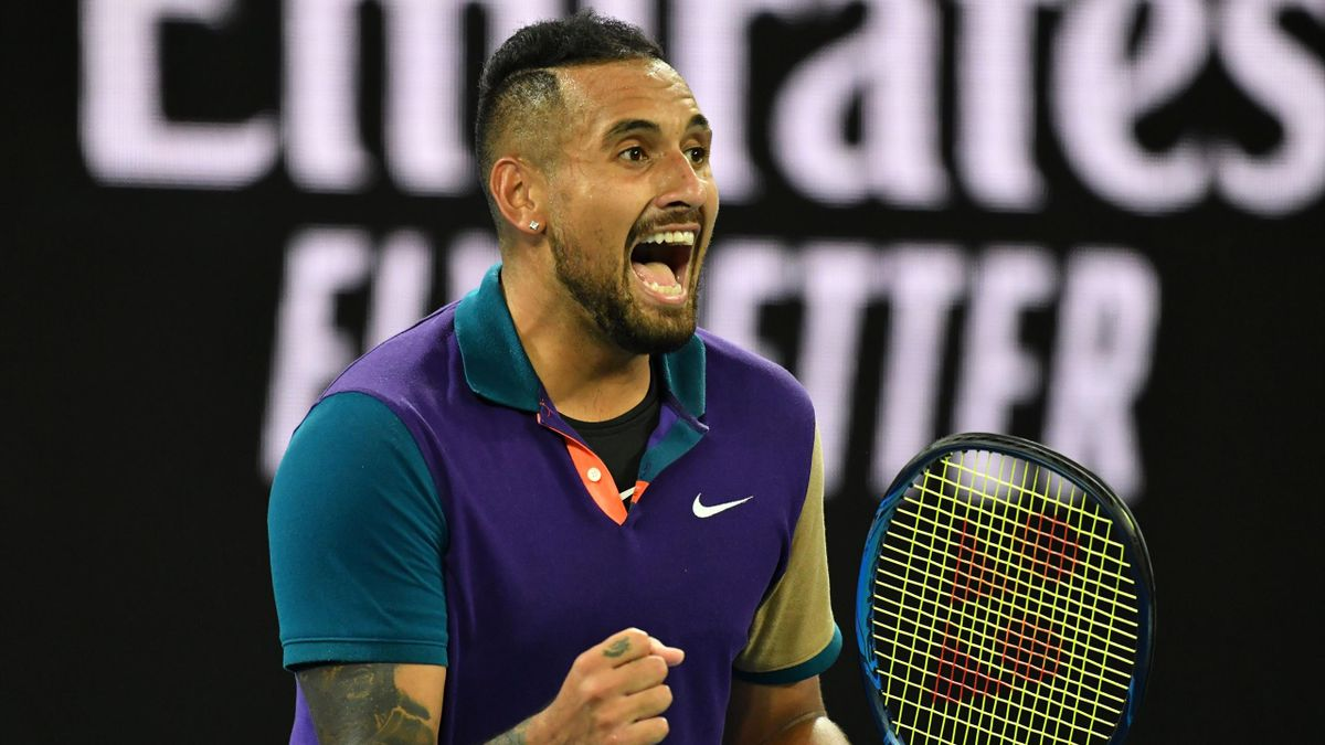 Australia's Nick Kyrgios reacts after a point against Austria's Dominic Thiem during their men's singles match on day five of the Australian Open tennis tournament in Melbourne