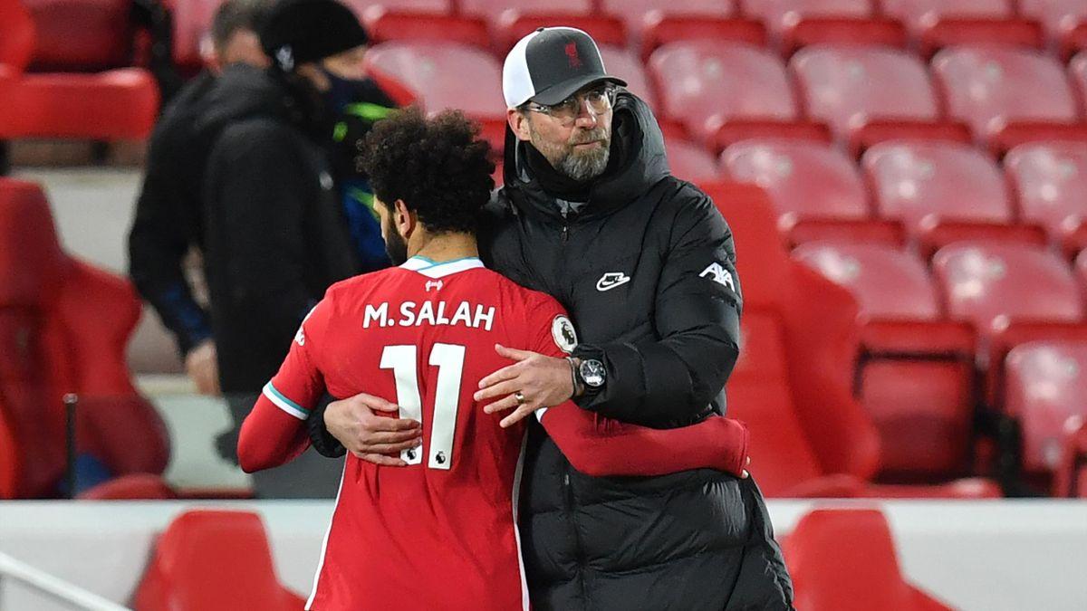 Liverpool-Trainer Jürgen Klopp (rechts) mit Supertsar Mohamed Salah