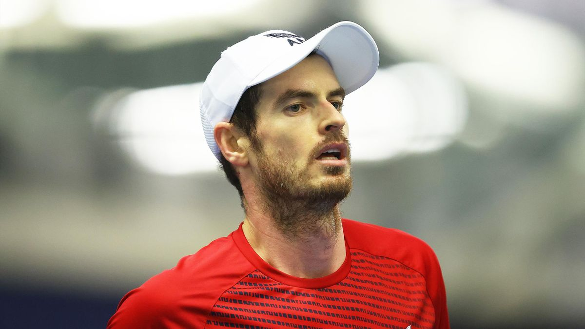 Andy Murray looks on