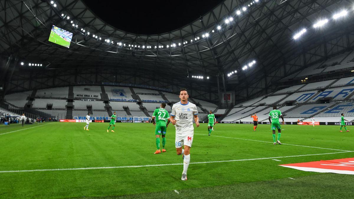 Florian Thauvin dans un Stade Vélodrome vide, lors du match opposant Marseille à Saint-Etienne, le 17 septembre 2020