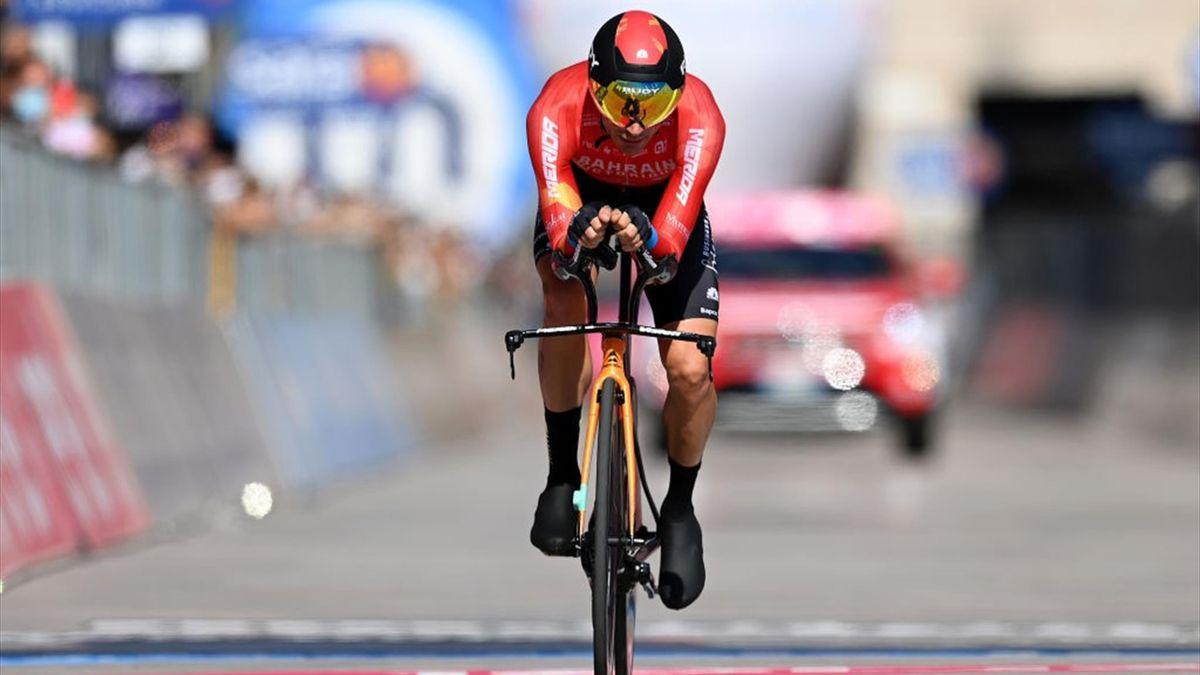 Damiano Caruso [Bahrain Victorious] durante la cronometro di Milano al Giro d'Italia 2021 - crono, time trail