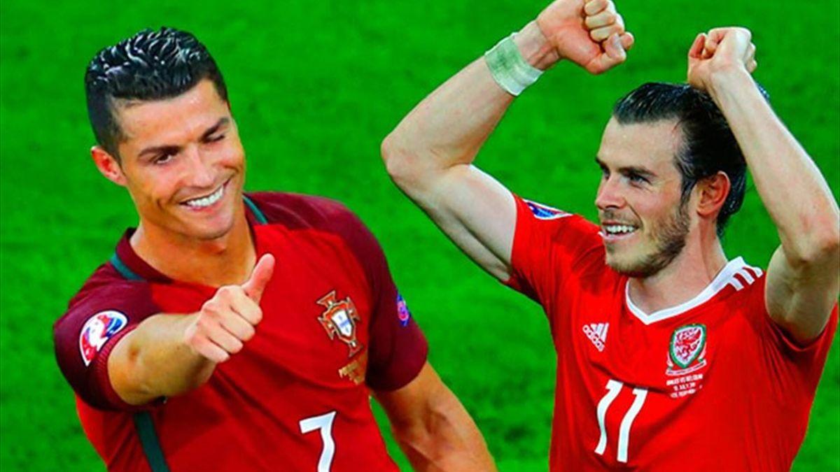 Cristiano Ronaldo of Portugal and Gareth Bale of Wales