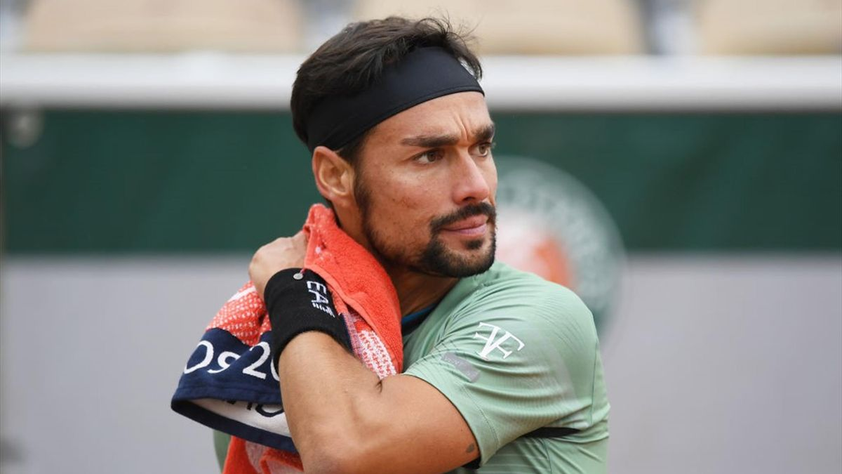 Fabio Fognini of Italy looks on during his Men's Singles first round match against Mikhail Kukushkin of Kazakstan on day two of the 2020 French Open at Roland Garros on September 28, 2020