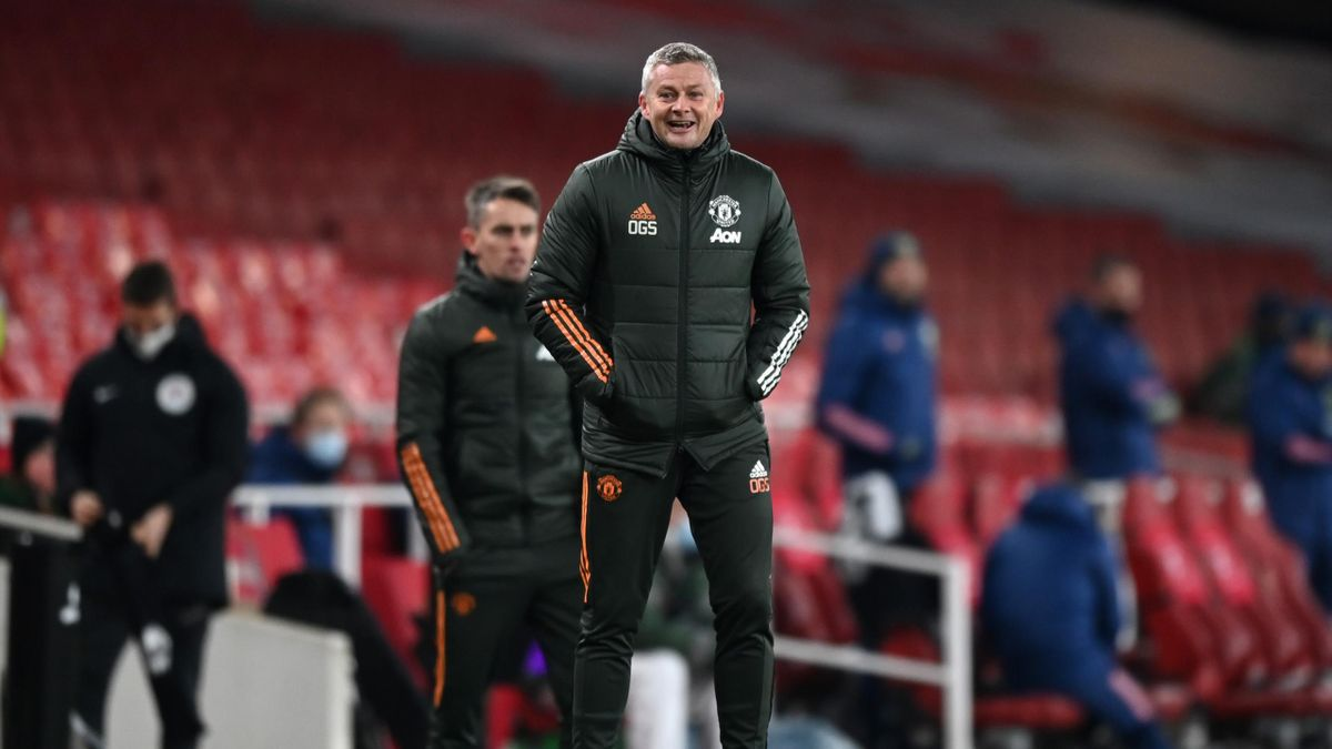 Manchester United's Norwegian manager Ole Gunnar Solskjaer smiles on the touchline during the English Premier League football match between Arsenal and Manchester United at the Emirates Stadium in London on January 30, 2021.