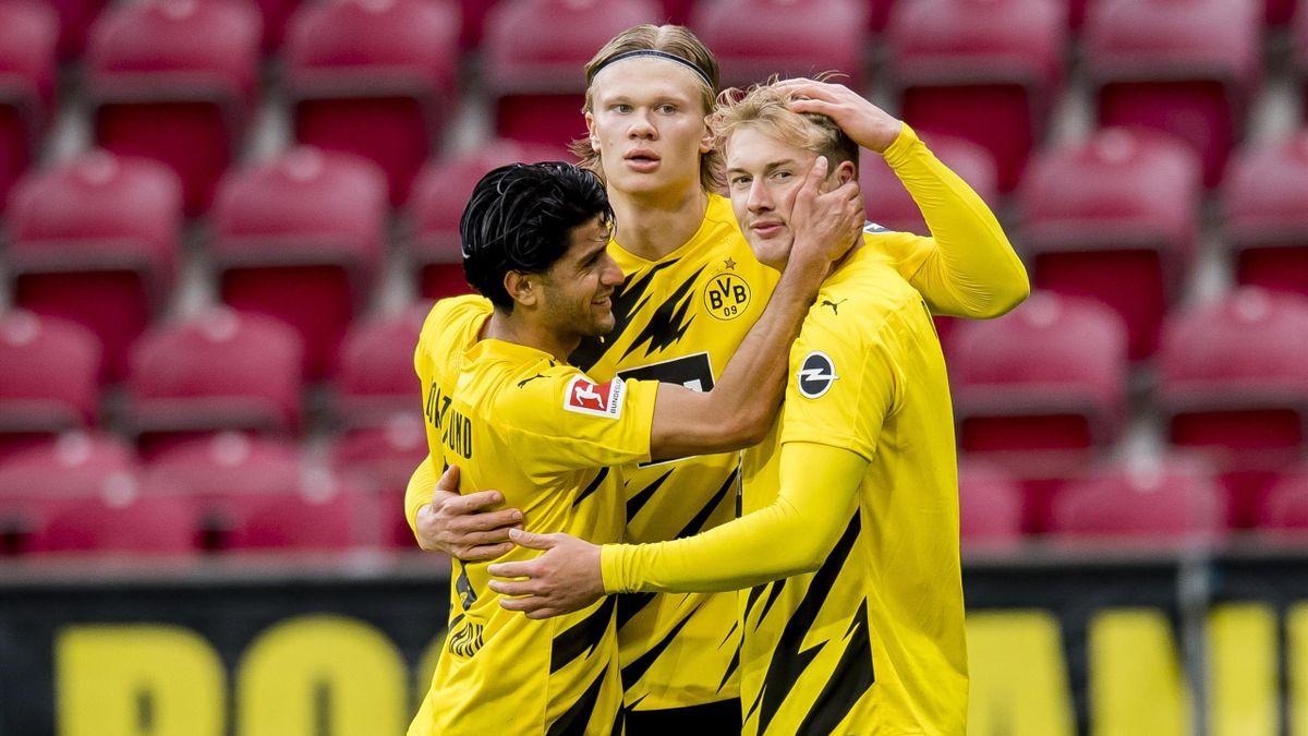 Mahmoud Dahoud, Erling Haaland und Julian Brandt (von links) - Borussia Dortmund