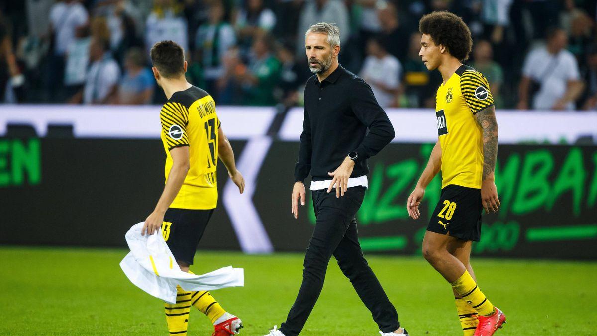 Raphael Guerreiro, Marco Rose und Axel Witsel (von links) - Borussia Dortmund
