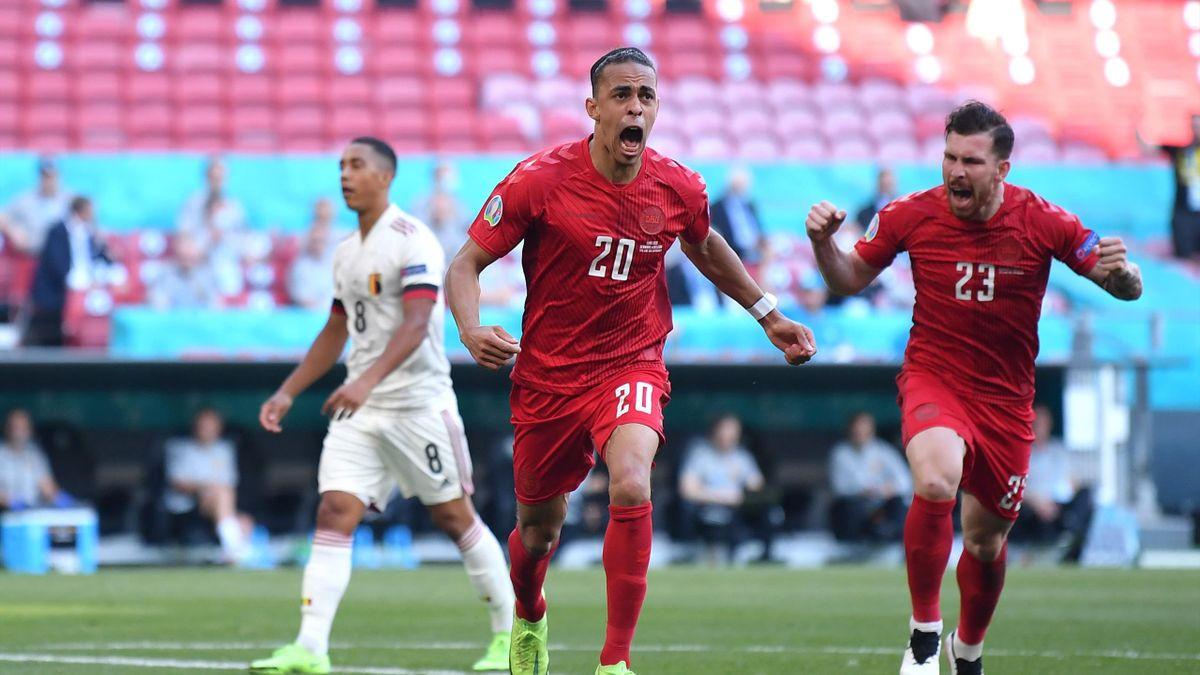 Юссуф Поульсен открывает счет в матче Дания – Бельгия