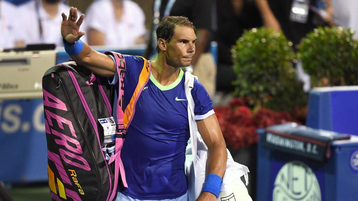 Rafael Nadal après sa défaote contre Lloyd Harris lors du tournoi ATP 500 de Washington 2021