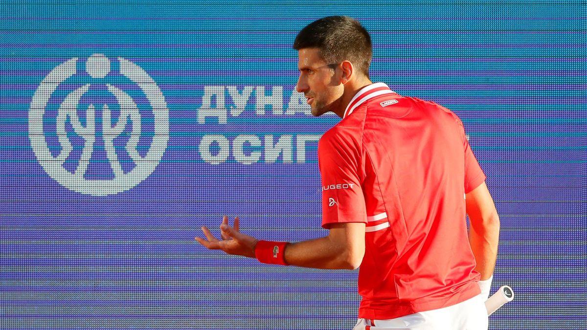 Serbias Novak Djokovic gestures during his ATP 250 Serbia Open semi-final singles tennis match against Russia's Aslan Karatsev at The Novak Tennis Centre in Belgrade on April 24, 2021. (Photo by PEDJA MILOSAVLJEVIC / AFP) (Photo by PEDJA MILOSAVLJEVIC/AFP