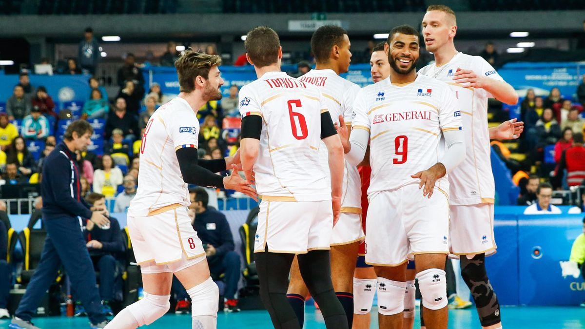 La joie des Bleus face à la Serbie lors du Final Six de la Ligue mondiale