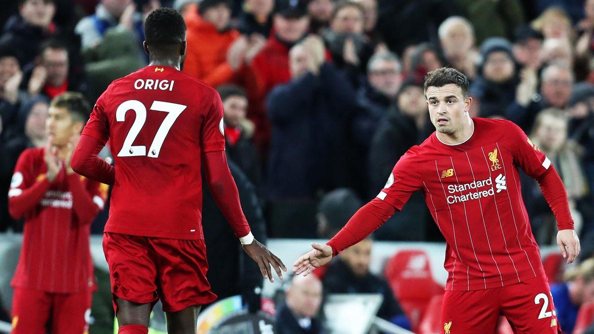 Divock Origi und Xherdan Shaqiri vom FC Liverpool